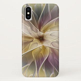 Capa Para iPhone X Arte floral do Fractal do abstrato da beringela do