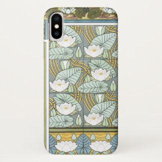 Capa Para iPhone X Arte Nouveau do vintage, flores do jardim de