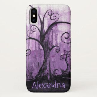 Capa Para iPhone X Arte roxa escondida da fantasia das árvores dos