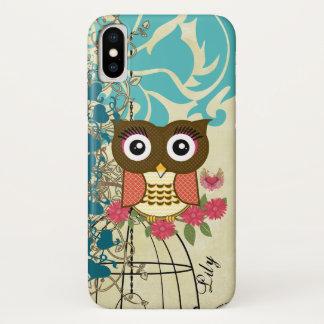 Capa Para iPhone X Árvore do Birdcage da coruja da tangerina