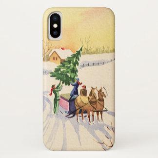 Capa Para iPhone X Árvore do natal vintage em uma estrada nevado do