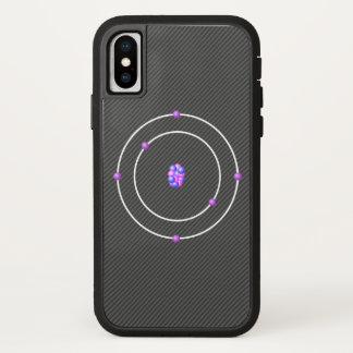 Capa Para iPhone X Átomo de carbono com fundo da fibra do carbono