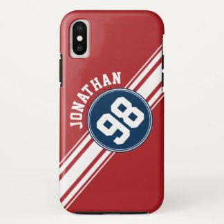 Capa Para iPhone X Azuis marinhos do jérsei dos esportes & número