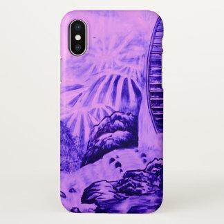 Capa Para iPhone X Azul asiático do rosa do papel de parede
