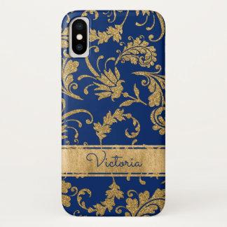 Capa Para iPhone X Azul, caso floral do iPhone X da case mate do ouro
