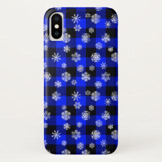 Capa Para iPhone X Azul da xadrez do búfalo do floco de neve