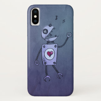 Capa Para iPhone X Azul engraçado que canta o robô retro dos desenhos