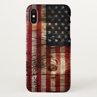 Capa Para iPhone X Bandeira americana dos EUA na madeira
