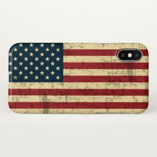Capa Para iPhone X Bandeira americana envelhecida afligida