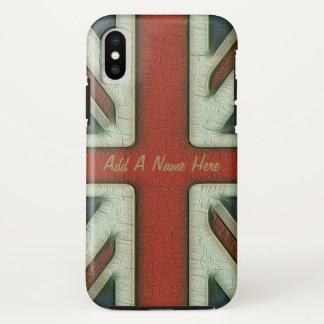 Capa Para iPhone X Bandeira de Ingleses do estilo do vintage