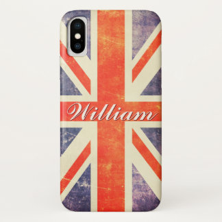 Capa Para iPhone X Bandeira de Union Jack do vintage personalizada