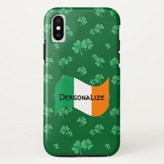 Capa Para iPhone X Bandeira irlandesa com teste padrão do trevo