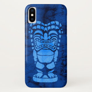 Capa Para iPhone X Batik de riso havaiano de Tiki da praia de Makapuu