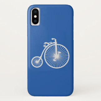 Capa Para iPhone X Bicicleta branca do vintage no azul