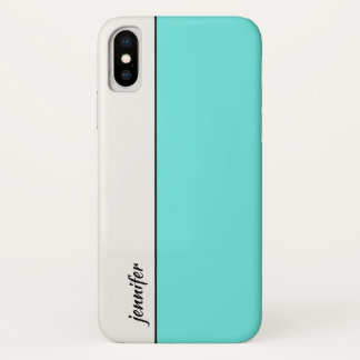 Capa Para iPhone X Bloco lustroso da cor do estilo com seu nome