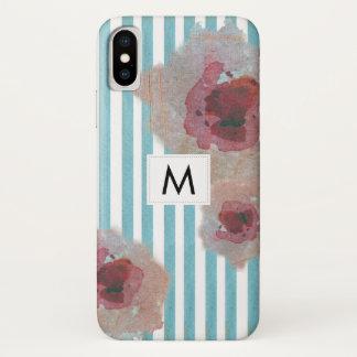 Capa Para iPhone X Boho listrado na moda Monogramed chique floral