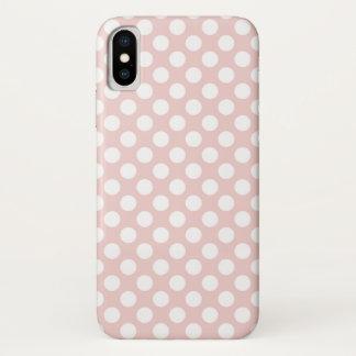 Capa Para iPhone X Bolinhas brancas no rosa