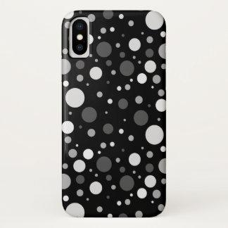 Capa Para iPhone X Bolinhas preto e branco pequenas