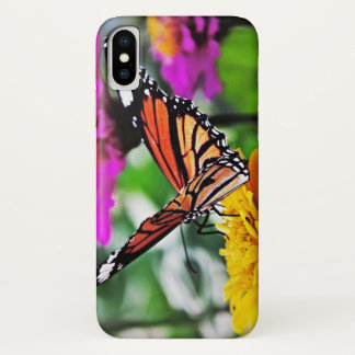 Capa Para iPhone X Borboleta em flores
