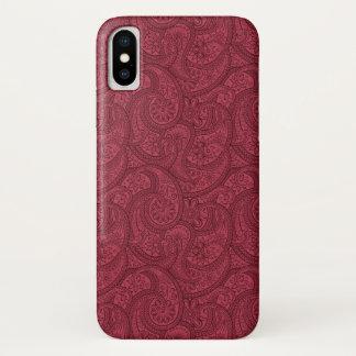Capa Para iPhone X Borgonha Paisley