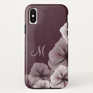 Capa Para iPhone X Borgonha Textured com monograma das flores