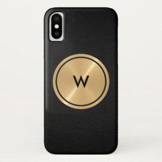 Capa Para iPhone X Botão do ouro e metal de aço inoxidável preto