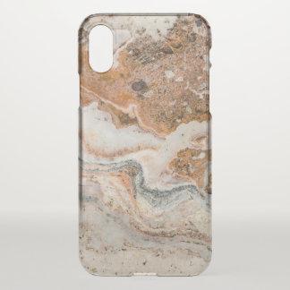 Capa Para iPhone X Branco & claro - mármore marrom do falso