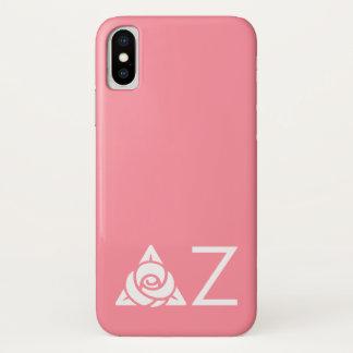 Capa Para iPhone X Branco cor-de-rosa do ícone do Zeta do delta
