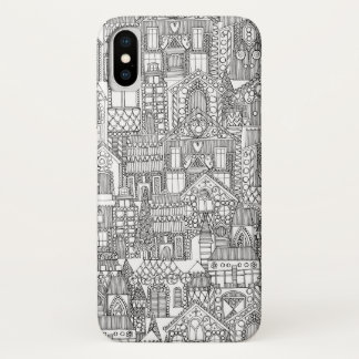 Capa Para iPhone X branco do preto da cidade do pão-de-espécie