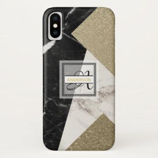 Capa Para iPhone X Brilho cinzento preto de mármore do ouro do