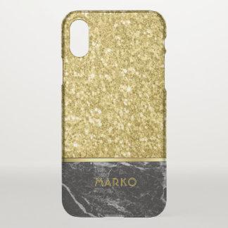 Capa Para iPhone X Brilho do ouro do falso & monograma de mármore