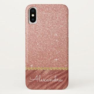 Capa Para iPhone X Brilho do ouro do rosa do rosa e impressão animal