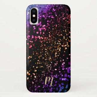 Capa Para iPhone X Brilho metálico do arco-íris do monograma