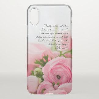 Capa Para iPhone X Buquê do rosa Pastel do verso da bíblia das flores
