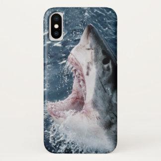 Capa Para iPhone X Cabeça do grande tubarão branco