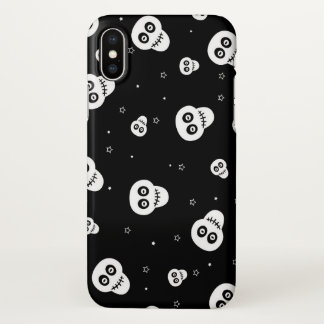 Capa Para iPhone X cabeças brancas pretas do crânio