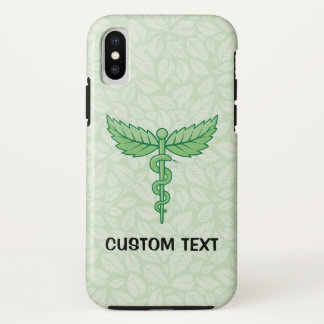 Capa Para iPhone X Caduceus com fundo das folhas
