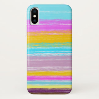 Capa Para iPhone X Caixa acrílica das listras do luxuoso da alpaca do