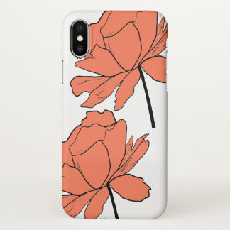 Capa Para iPhone X Caixa alaranjada do iPhone X da flor