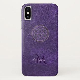 Capa Para iPhone X Caixa celta de couro roxa do iPhone X do nó do