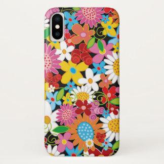 Capa Para iPhone X Caixa colorida do iPhone 6 do jardim de flores do
