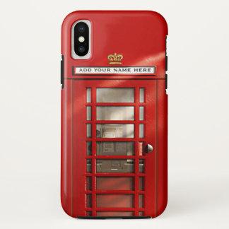 Capa Para iPhone X Caixa de telefone vermelha britânica personalizada