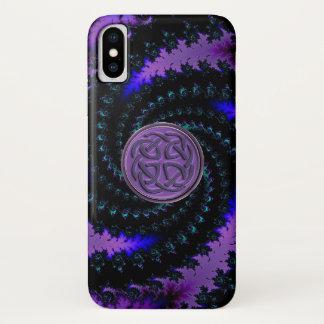 Capa Para iPhone X Caixa espiral celta roxa do iPhone X do Fractal