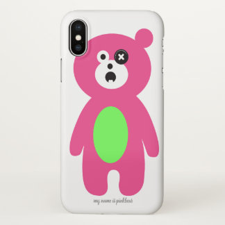 Capa Para iPhone X caixa impressa pinkbear do iphone X do bebê do
