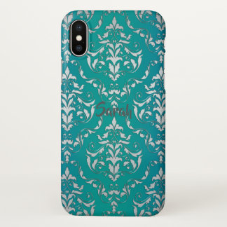 Capa Para iPhone X Caixa personalizada damasco do iPhone X da cerceta