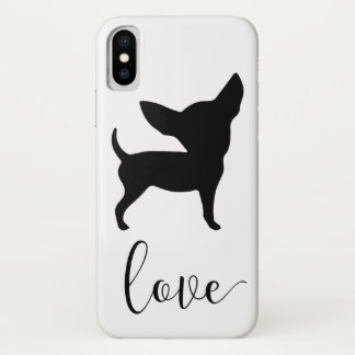 Capa Para iPhone X Caixa preta de Iphone X do amor da chihuahua