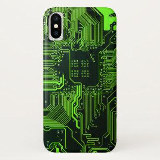 Capa Para iPhone X Caixa verde do iPhone X do conselho de circuito do