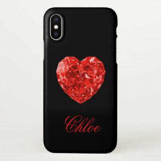 Capa Para iPhone X Caixa vermelha do iPhone X do nome do coração do