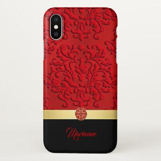 Capa Para iPhone X Caixa vermelha e preta do iPhone X do nó do