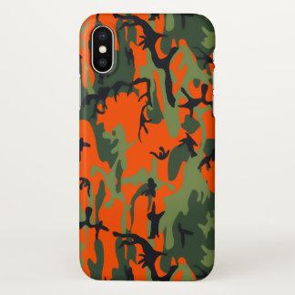 Capa Para iPhone X Camo alaranjado e verde da segurança